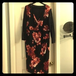Simply be long sleeve black floral lace dress 18